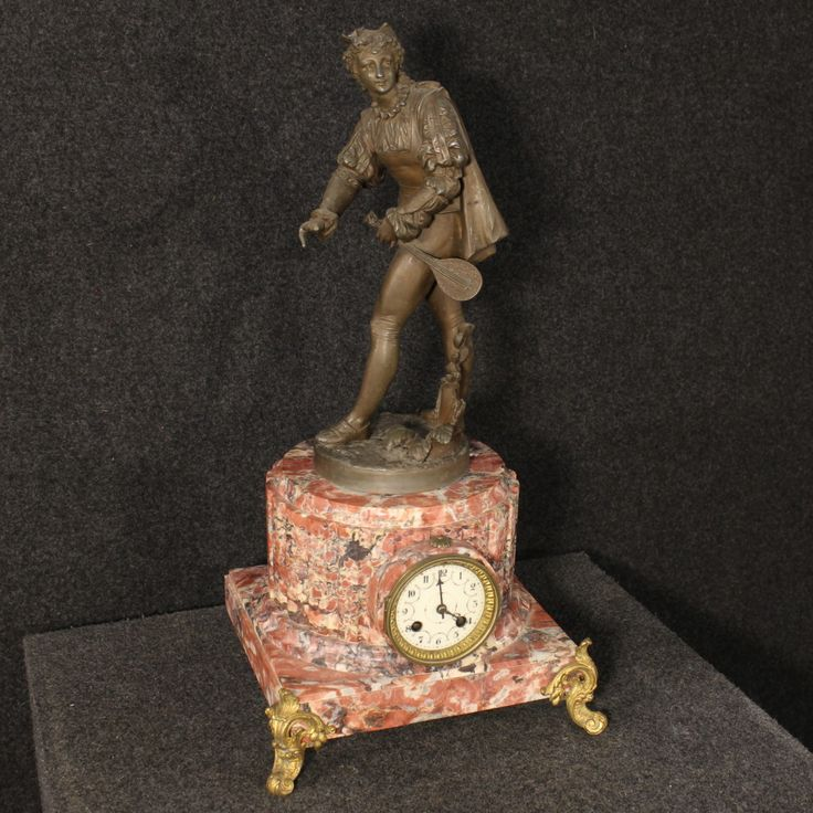 French clock in bronze and marble with sculpture of the 20th century. Visit our website www.parino.it