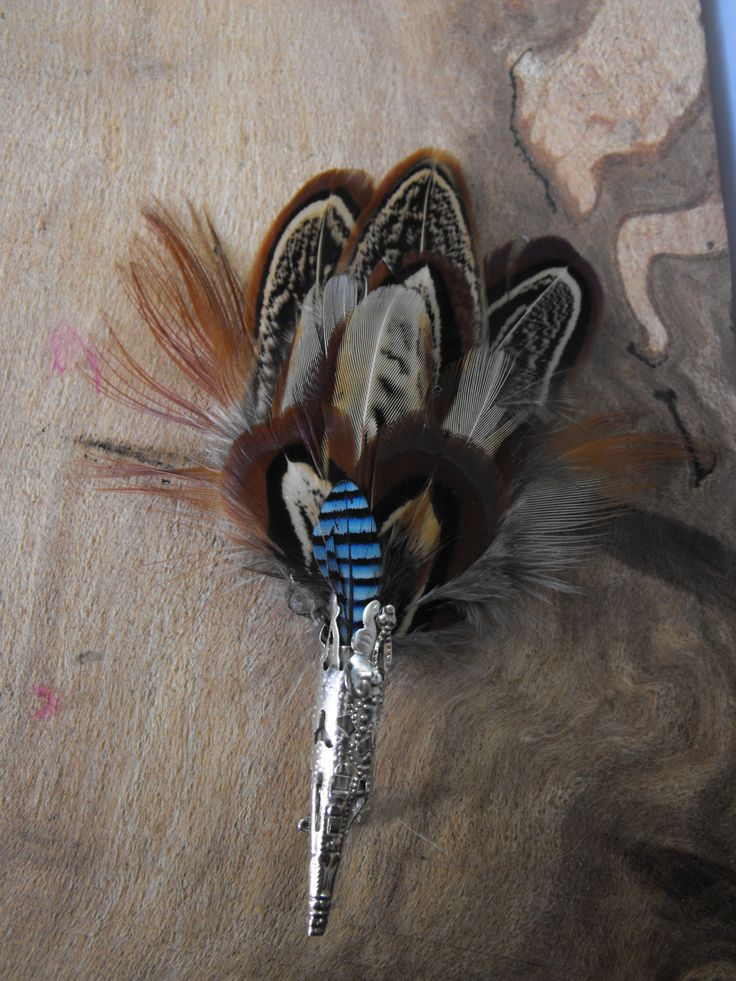 Feather Brooch , Pheasant feather brooch, mens lapel pin, feather hat pin, feather lapel pin, real feathers by Countryfeatherstweed on Etsy