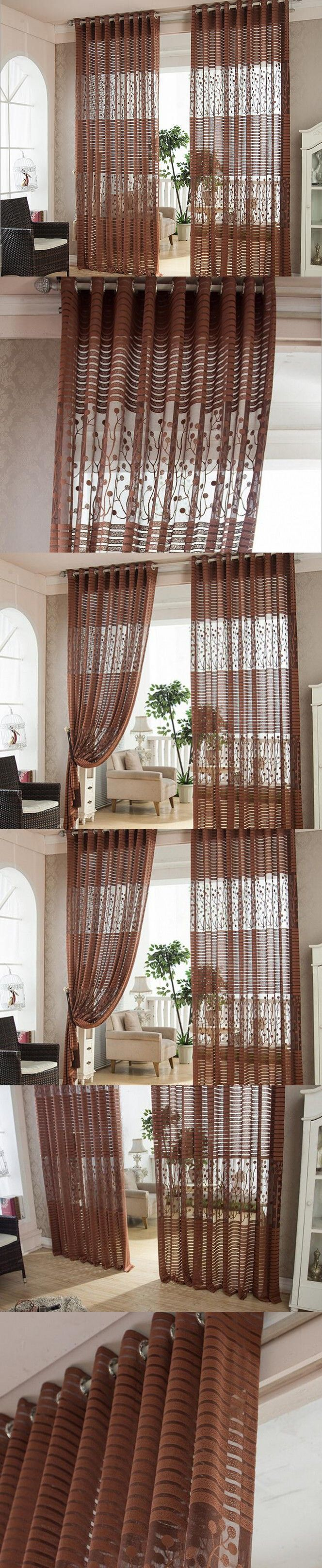 Luxury Window Curtains Modern Living Room Curtain Embroidered Voile Roller Blinds Dark Brown