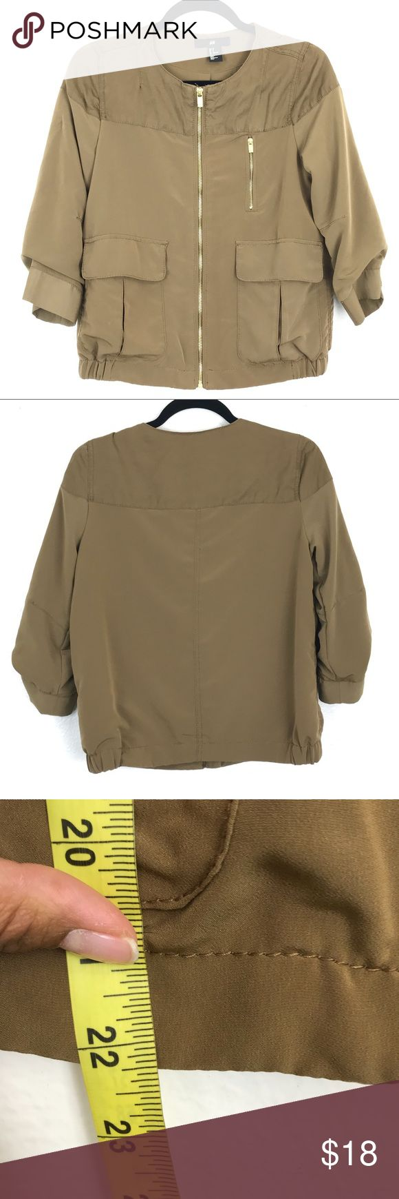 H&M Olive Green Casual Jacket Bomber Coat Gold 2 R