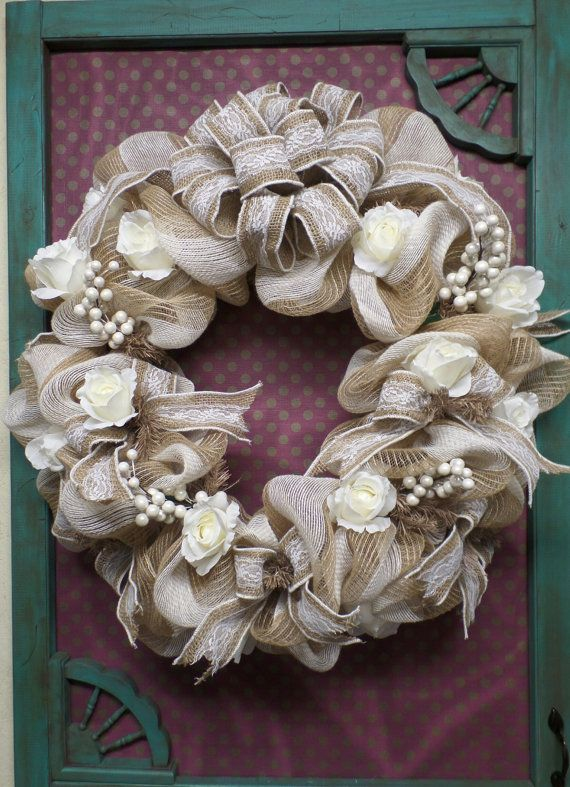 Burlap and Lace Wedding Wreath Ready to Ship by DecoMeshObsession, $125.00