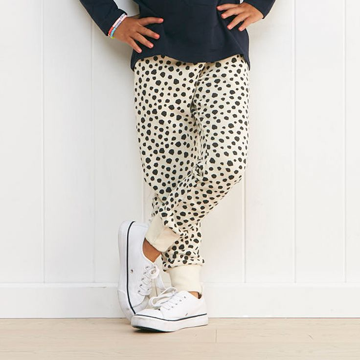 Kiki trackpant features fun prints for an edgy casual look. Detailed with draw cord, functioning pockets, rib cuff and waistband makes for everyday practical wear.