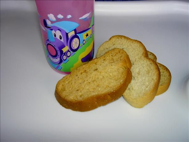 Zwieback Toast (Teething Cookies) from Food.com: A quintessential childhood food. This is a copycat recipe of the traditional Zwieback Toast that we grew up on, gave to our own kids, and may even be giving to our grandkids now. My daughter has an allergy to cow's milk, so I substitute the milk for half water and half coconut milk and it works out perfectly!! Note: It takes two days to make these cookies. The first day, you make a raised loaf (just like you do when making yeast bread). The…