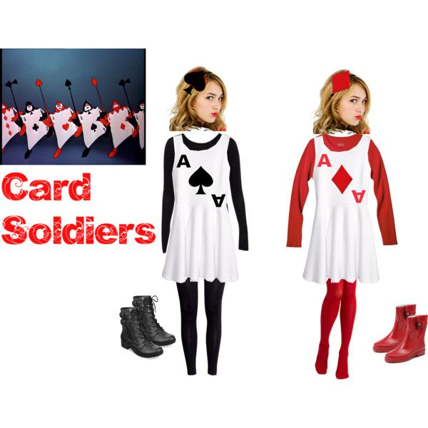 Card soldiers easy DIY costume by clairebear235 on Polyvore featuring H&M, Pull&Bear, tabbisocks, G by Guess, ban.do, Retrò, disney, aliceinwonderland, QueenOfHearts and playingcards