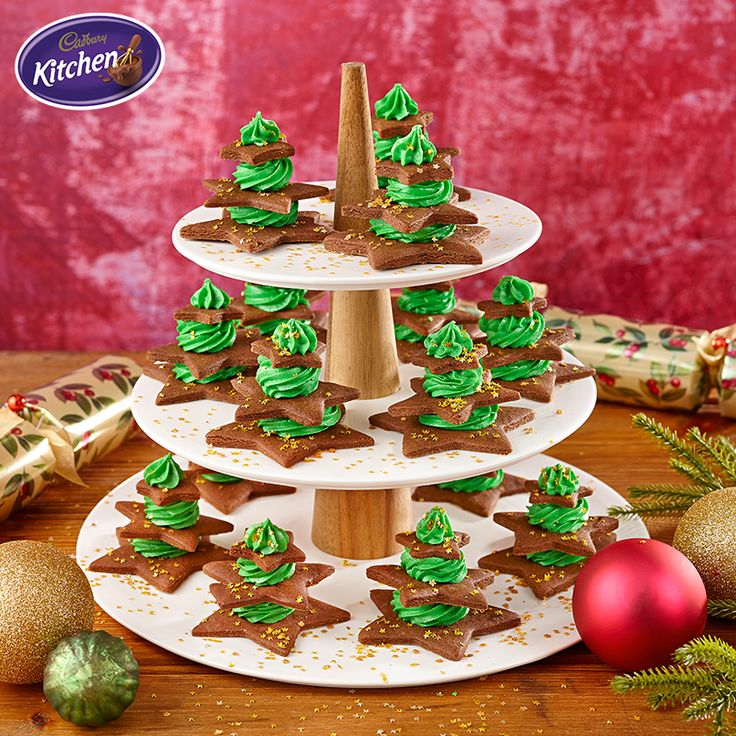 These gorgeous Christmas Tree Biscuits also double as decorations for Christmas lunch!  - Trish   #cake #biscuits #desserts #chocolate #CADBURY #christmastrees #christmasrecipes #christmas