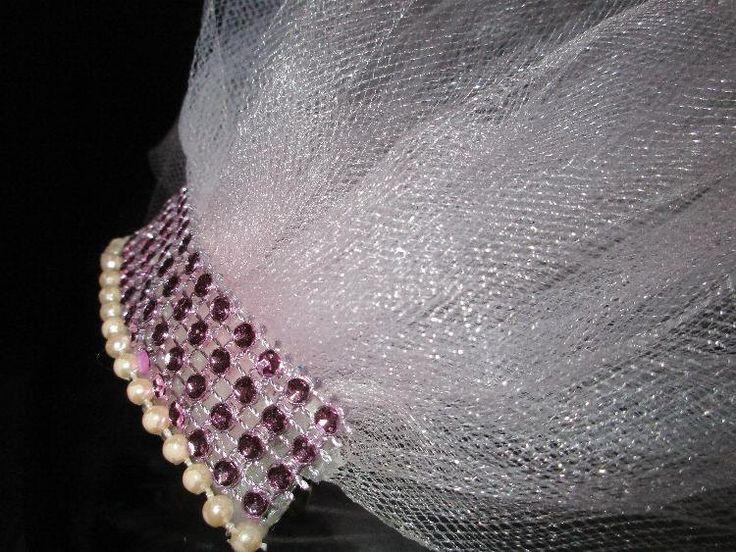 bachelorette veil, bachelorette party veil, bachlorette accent veil, pale pink trulle veil, hair, bridal party veil, hen party veil , veil by SuspendedStar on Etsy