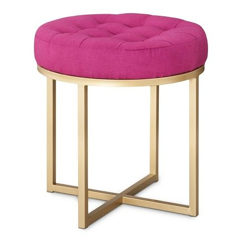 Threshold Button Tufted Ottoman Pink Styling