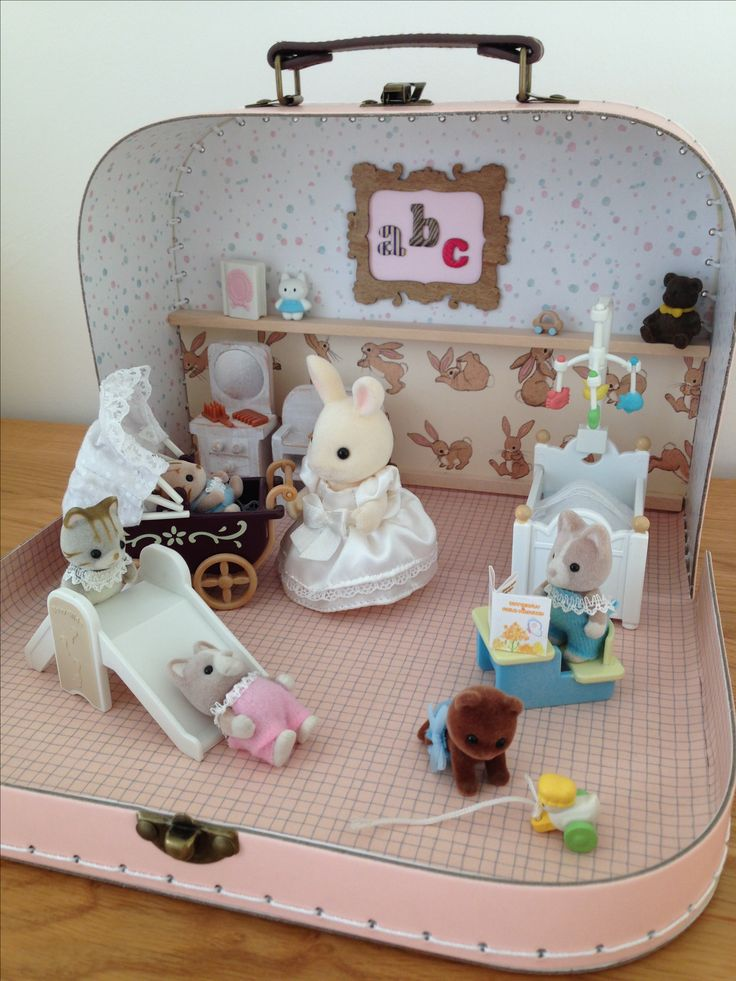 Sylvanian Family Handmade Nursery. Rabbit family in a suitcase. Made as a gift for my niece. (Rabbit Houses)