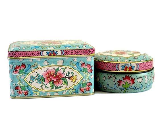 Decorative Daher Decorative Tins, Pair of Vintage Pink and