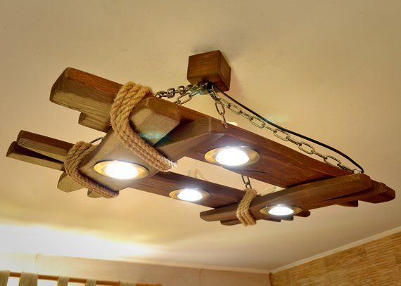 Wooden Chandelier is Made of Natural Wood Ceiling Light