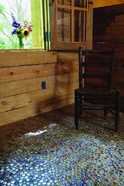 recycled bottle cap flooring!
