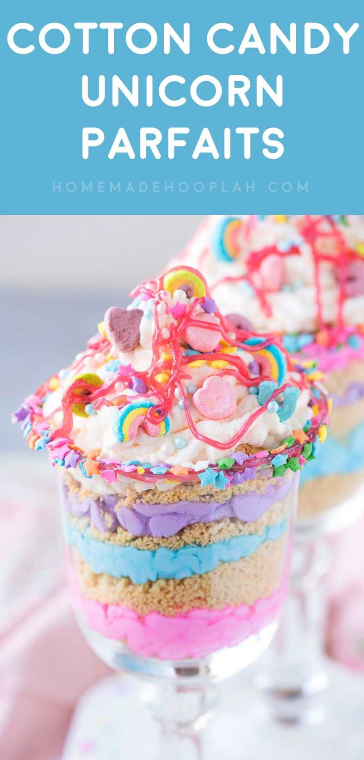 Cotton Candy Unicorn Party Parfaits! Ride the rainbow craze with this unicorn party dessert made with cotton candy flavor whipped cream, crushed golden Oreos, and Lucky Charms marshmallows.   HomemadeHooplah.com