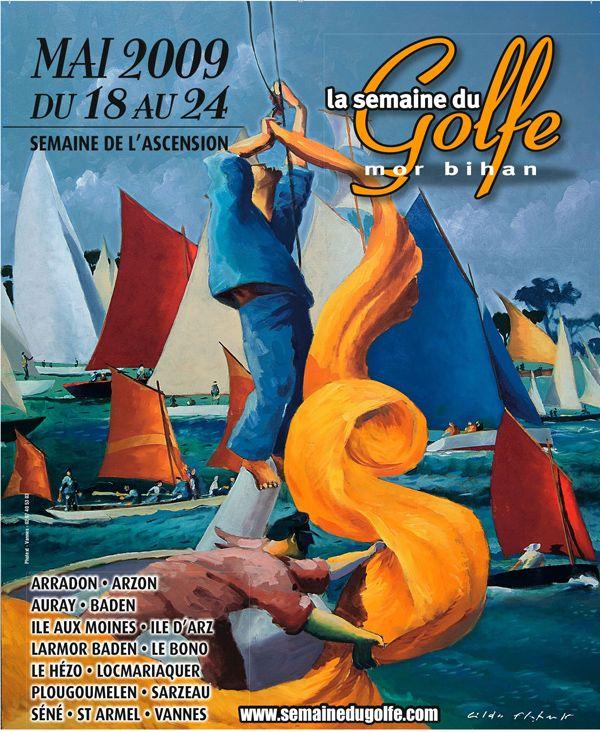 Superbe affiche de la Semaine du Golfe du #Morbihan, #Bretagne, édition 2009
