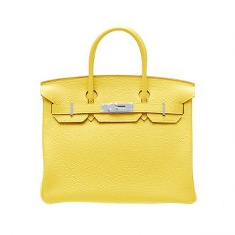 Hermes Birkin Bag 25 Soleil/Yellow Togo Leather Silver Hardware