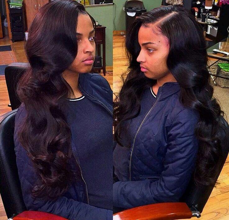 Side Part Sew In w/ Loose Curls