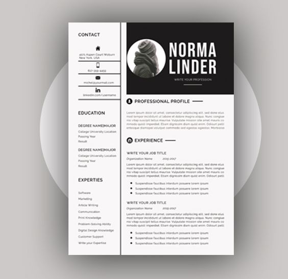 Professional Resume Cv Template Instant Download Ms Word