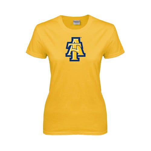 North carolina a t university ladies gold t shirt at for University of north carolina t shirts
