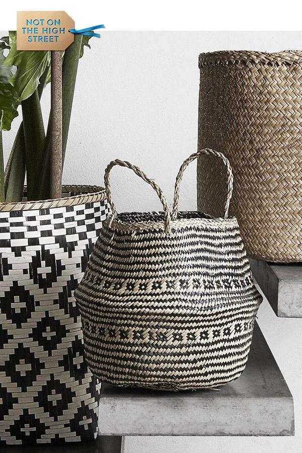 Seagrass Woven Storage Wicker Basket Flower Plants Straw Pots Bag Home Decor SP
