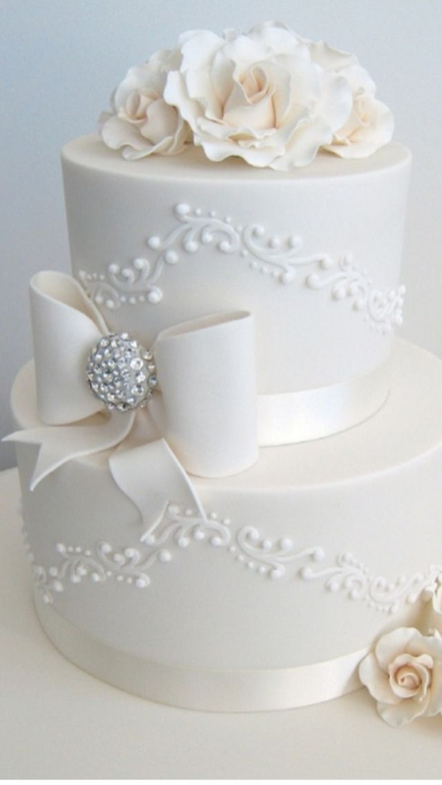 Wedding cake with roses and piping.