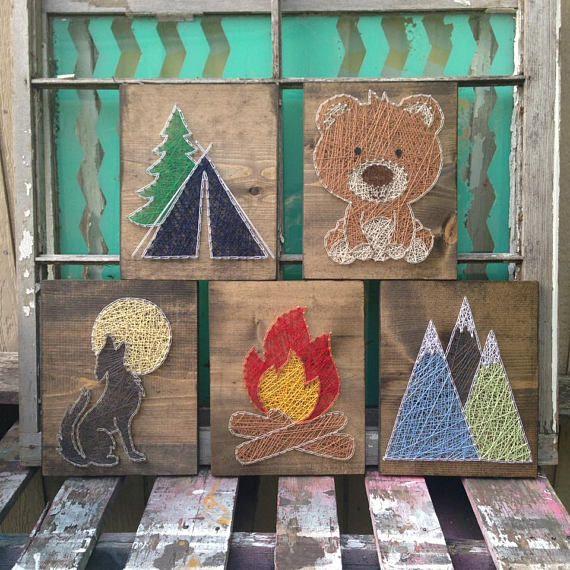$129 Etsy String Art Animal Set Camping Nursery Art Bear String Art
