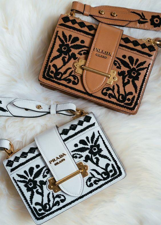 0a280a24e52f Prada embroidered detailed leather bag