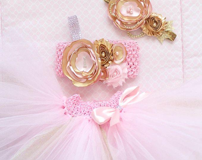 Hermosa torta oro rosa Smash traje Tutu conjunto 3 piezas para bebé recién nacido-18 meses primer cumpleaños desfile Vestido