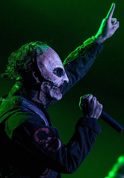 MOSCOW RUSSIA JANUARY 30 2016 Lead singer and lyricist Corey Taylor of the American heavy metal band Slipknot performs at the Olimpiysky Arena Sergei...