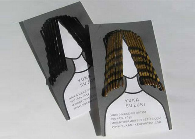 M7 Inspiring Business Cards. The hairpins, what a great idea for this. Anything that is tangible like this will usually work in drawing in new clients!