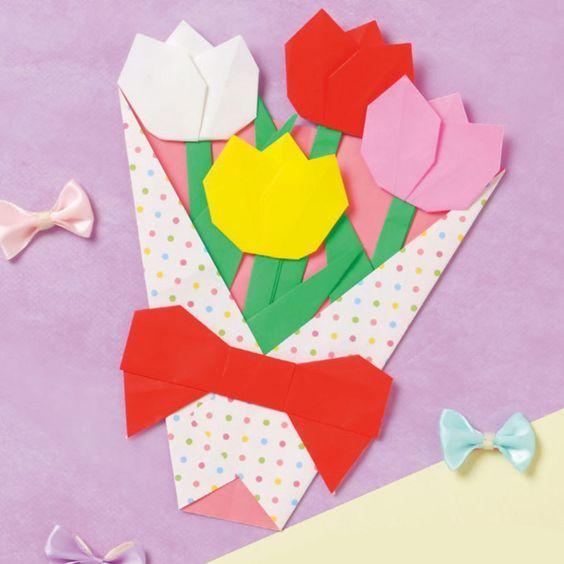 折り紙で作る素敵な贈りもの!チューリップの花束の折り方(おりがみ) | ぬくもり