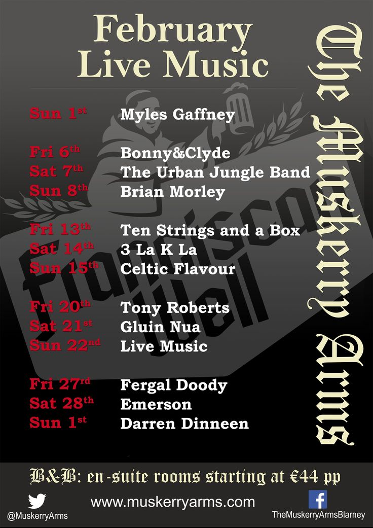 Our live music lineup for February 2015.