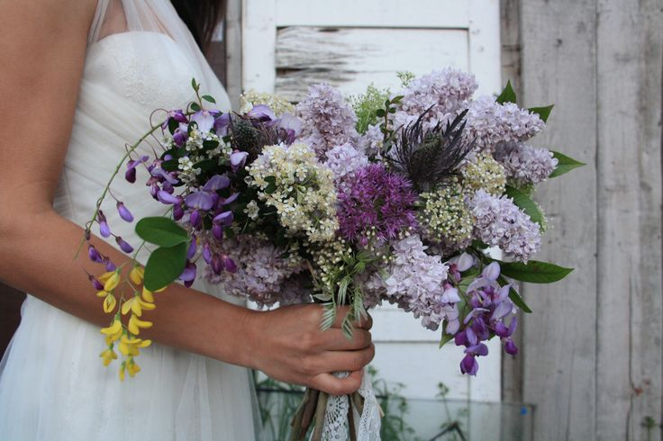Purple and yellow wedding bouquet!