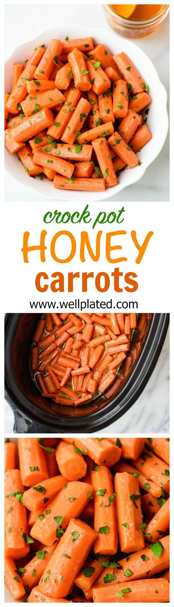 Finished with orange zest and sweet honey, these Crock Pot Glazed Carrots are the perfect side dish to any meal. Pairs well with a variety of entrees and kids love them too! www.wellplated.com | @wellplated #slowcooker #crockpot