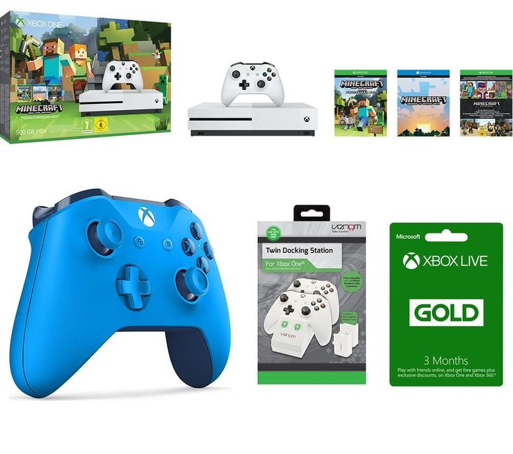 MICROSOFT  MICROSOFT Xbox One S with Minecraft Gaming Bundle Price: £ 269.99 Pick up the latest Xbox console and discover another world with Minecraft Favourites , a Wireless Gamepad , Twin Docking Station and a Gold Membership to Xbox Live . _____________________________________________________________  Xbox One S Dive into the world's greatest games on a 40% smaller, more streamlined...