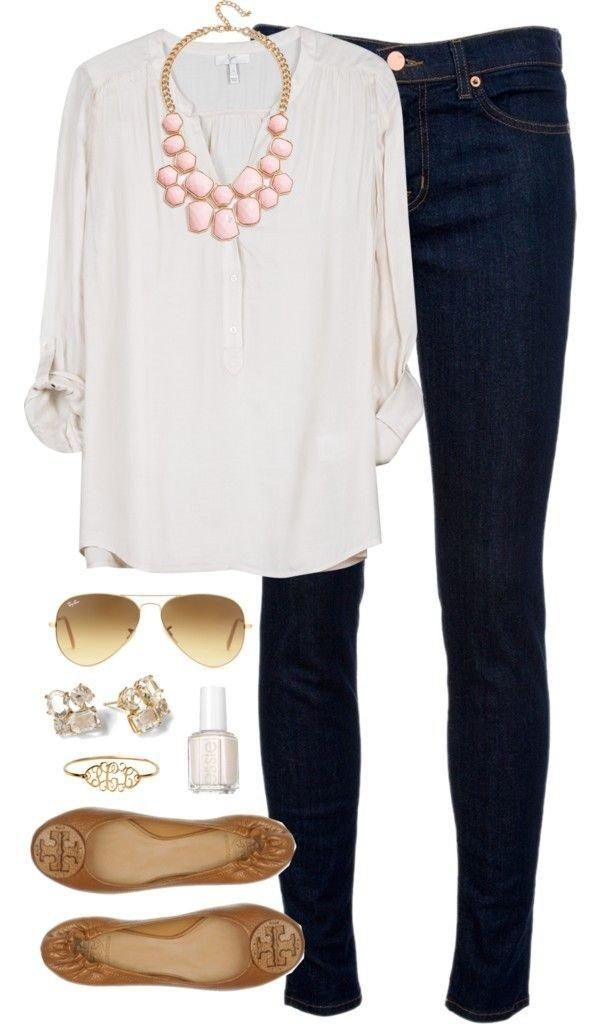 Great casual spring outfit :)Fashion, Skinny Jeans, Statement Necklaces, Cute Outfits, Work Outfits, Casual Fridays, Casual Outfits, Casual Dresses Outfit, White Tops