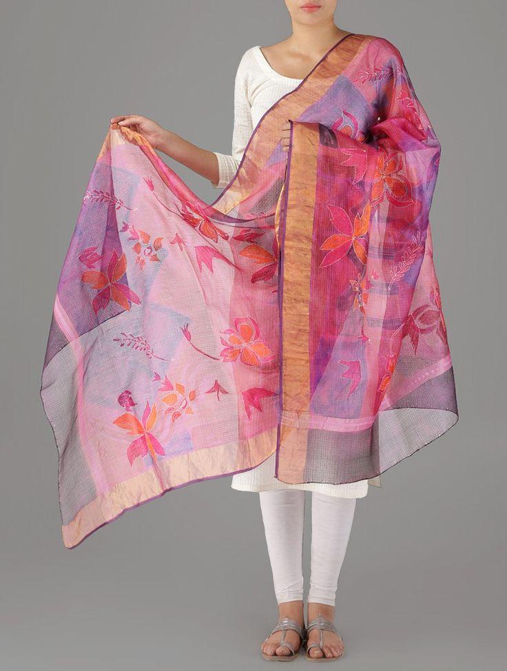 Floral Kantha Kota-Silk Dupatta on Jaypore.com