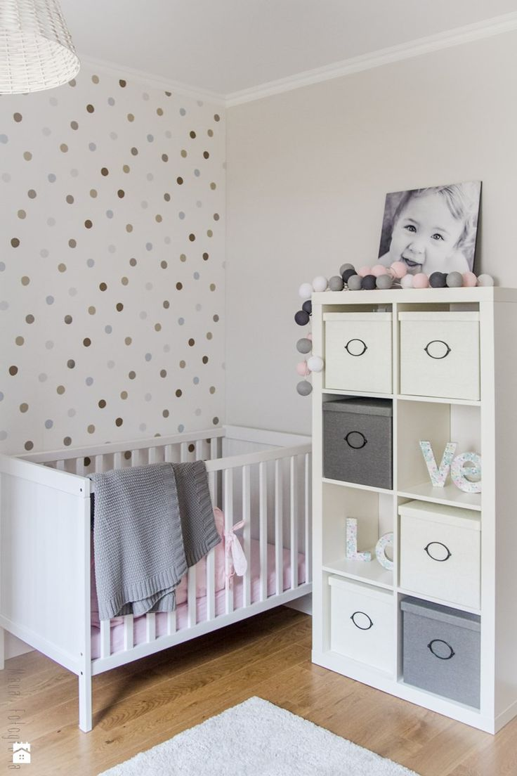 Neutral toned polka dots for a kids bedroom. Sweet multi colored polka dot idea!