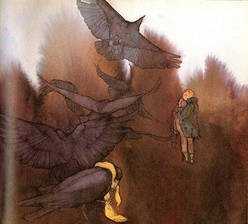 """""""The Seven Ravens"""" by the Brothers Grimm; illustrations by Lisbeth Zwerger."""