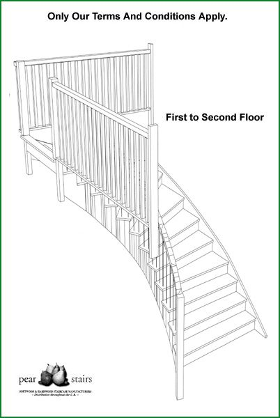 The Drive Curved Staircase - 3d staircase design.