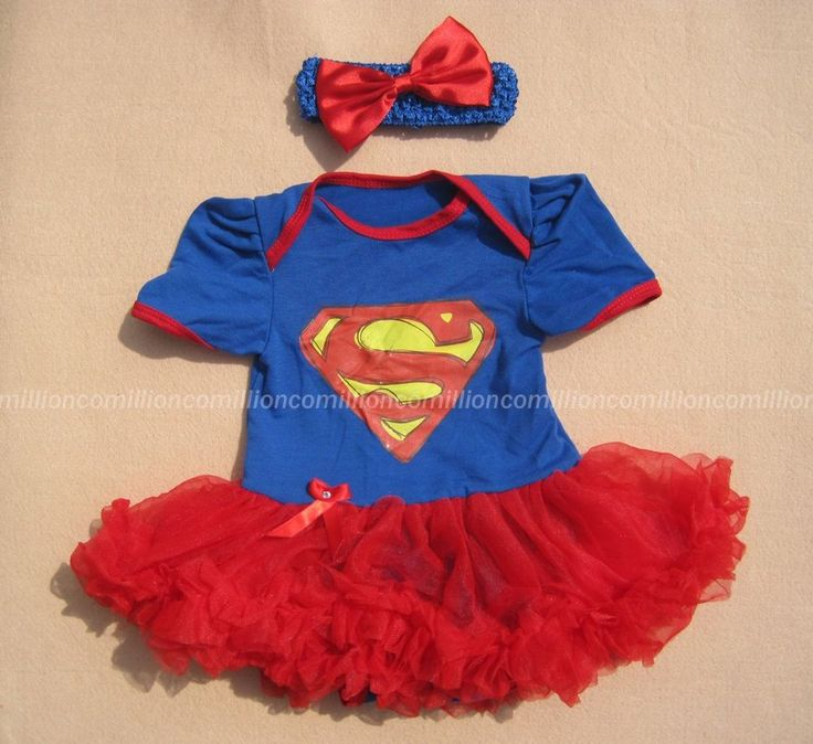 Baby Supergirl Superman Newborn Infant Headband+Romper Tutu Dress outfit sets #Unbranded #EverydayHoliday