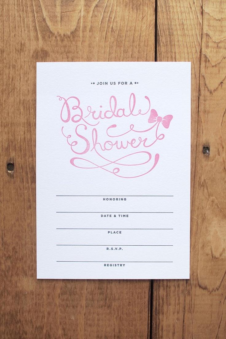 Letterpress Bow Bridal Shower Invitations Set of