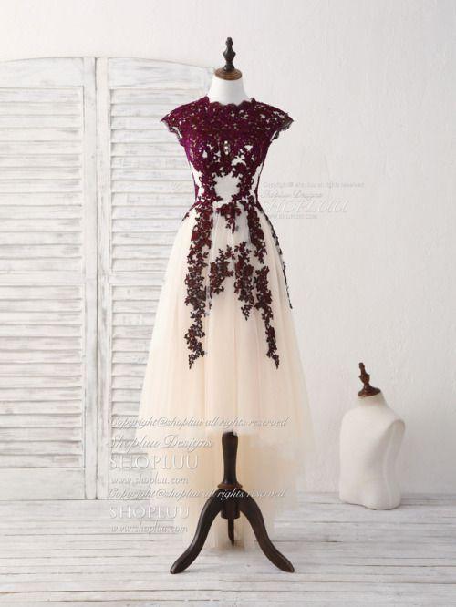 f5f87fb4528 shopluu  Burgundy tulle lace applique short prom dress buy here   shopluu.com (via rose-owl)