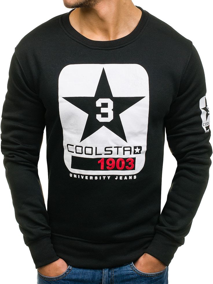Black men's sweatshirt Manufactured for Bolf by J. Style The model (182 cm, 82 kg) is wearing size XL Fabric: 65% Cotton, 35% Polyester