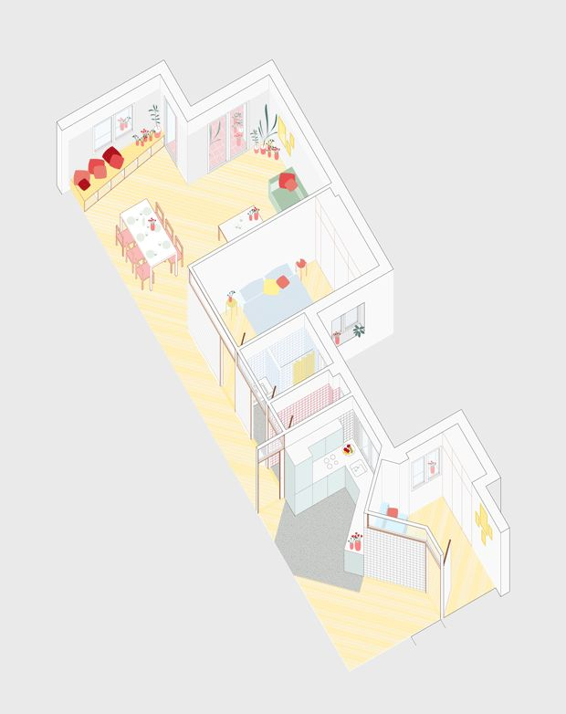 Pyo • Casa Ma - love the axon and colors but wish it were exploded so I could see into the smaller rooms!
