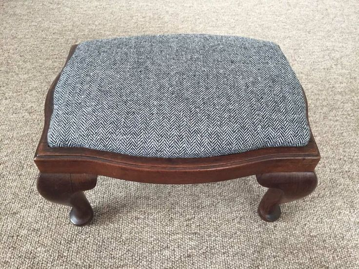 Nice Vintage Small Footstool Pouffe Wooden Tapestry Wool Recovering Project