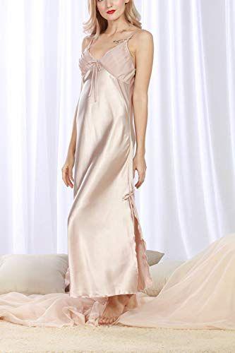 e19eae8ed60 Amazon.com  4Ping Women s Spring and Summer Imitation Silk Pajamas Long  Paragraph Split Sexy Sling Sleep Dress  Clothing