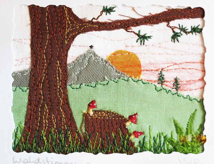 """Genähtes kleines Bild """"Waldstimmung"""", 6,5 x 8,5 cm"""