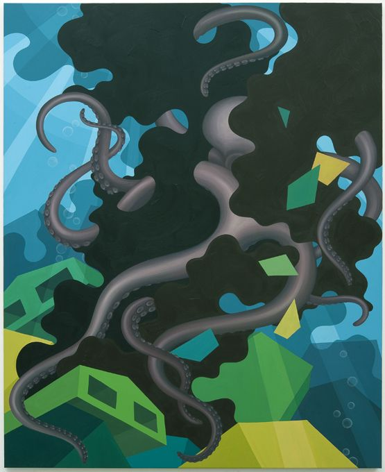 """Eske Kath: """"Deepwater"""", 2010. Oil and acrylic on canvas. 80 x 65 in."""