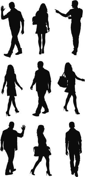 Vectores libres de derechos: Silhouette of people in different poses