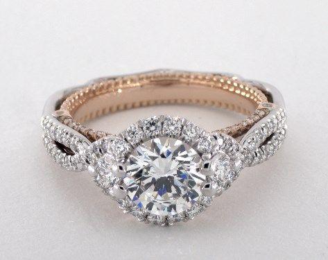 54801 engagement rings, verragio, 14k white gold and rose gold venetian engagement ring item - Mobile