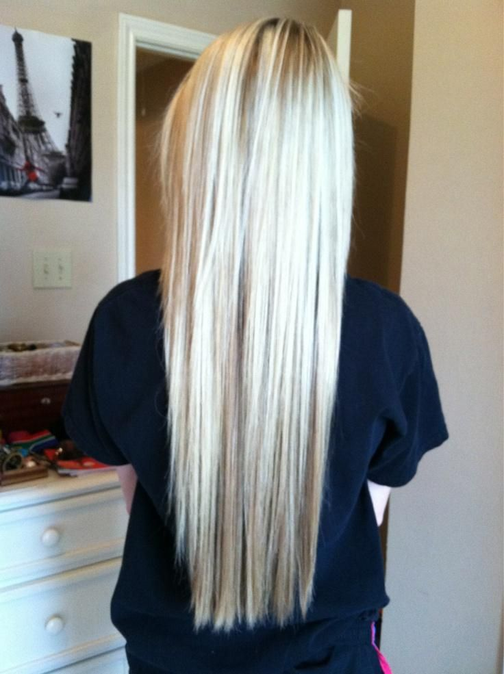 light blonde with light brown highlights. I love this!!!! This is exactly what I want my hair to look like!